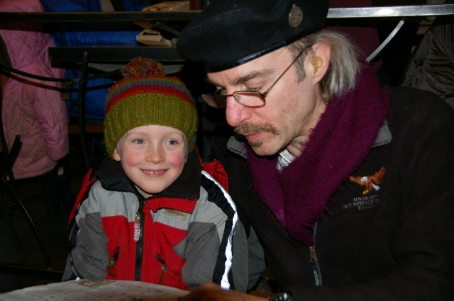 Christopher and Uncle Art reading together, Nelson BC December 2011. A shining light for our future.
